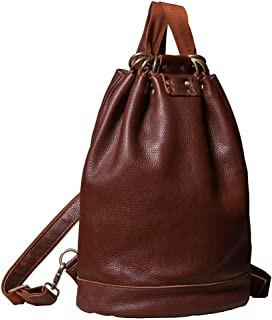 Xuan Yuan Backpack - Fashion Wild Bucket Bag PU Soft Leather Bag Simple Retro Leisure Travel Backpack Large Capacity Multi-Function Female Bag Backpack (Color : Brown)
