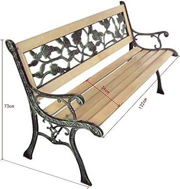Festnight Garden Bench, Outdoor Garden Patio Park Chair with Rose Patterned Backrest 122 x 51 x 73 cm