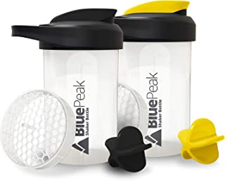 BluePeak Protein Shaker Bottle 20-Ounce, 2-Pack, with Dual Mixing Technology. BPA Free, Shaker Balls & Mixi...