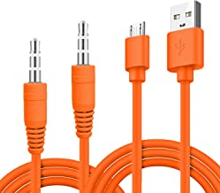 USB Fast Power Charger Charging Cable Cord and Audio Cable for JBL Wireless Speaker, Headphone - Orange