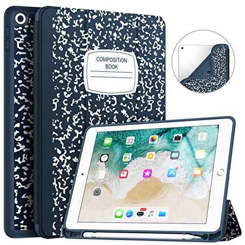Soke iPad 9.7 2018/2017 Case with Pencil Holder, Trifold Stand with Shockproof Soft TPU Back Cover and Auto Sleep/Wake Function for iPad 9.7 inch 5th/6th Generation,Book Navy