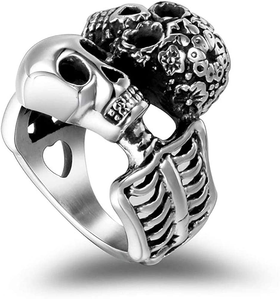 MZC Jewelry Vintage Gothic Skull Ring Stainless Steel Men Women Biker Statement Punk Halloween Band Ring Size 8 to 12 for Party