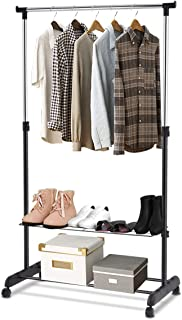 GOFLAME Garment Rack Adjustable for Hanging Clothes, Height Adjustable Clothing Hanging Rack with Wheels, 2-Layer Shoe Rack for Extra Storage, Portable and Heavy Duty for Balcony Bathroom