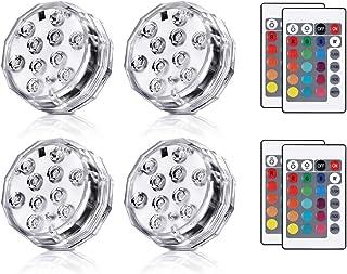 Haofy 水中ライト LED潜水ライト RGB水中LEDライト お風呂ライト 花瓶LEDライト IP68防水 リモコン付き イルミネーション 水中照明 お風呂/お庭/花瓶/水槽照明/水族館/金魚鉢/ポール/浴槽用 CE, ROHS, FCC認証(4点セット)
