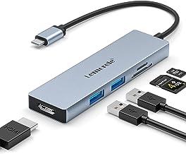 Lemorele Hub USB C HDMI 4K - 6 en 1, Adaptador USB C Hub con 2 USB 3.0, SD/TF, USB C Adaptador MacBook Pro/Air M1, iPad Pr...