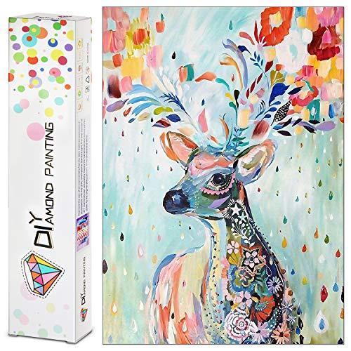 HNSHAG 5D-Diamant-Malerei-Set für Erwachsene und Kinder, buntes Rehkitz mit Kristall-Strass-Stickerei, Bilder, Kunsthandwerk als Geschenk für Heim-Wanddekoration (30 x 40 cm)