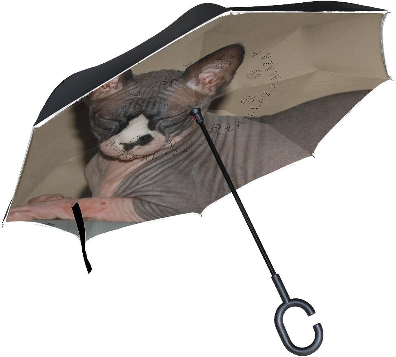Animal Cat Sphynx Adorable Fluffy Small Pet Cute Ingreened Umbrella Large Double Layer Outdoor Rain Sun Car Reversible Umbrella