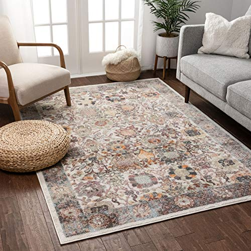 Well Woven Ginny Vintage Ivory Oriental Floral Pattern Area Rug 220x160 cm (5'3' x 7'3' ft.)