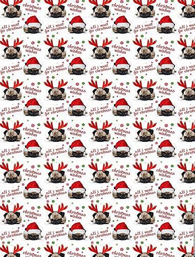 Geschenkpapier Weihnachten mit Anhänger Cute Santa Pugs 2+2