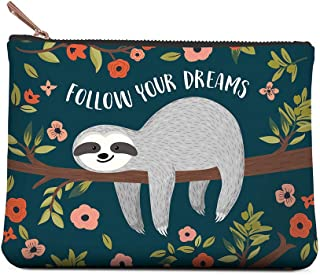 Studio Oh! Small Zippered Pouch Available in 6 Designs, Follow Your Dreams Sloth