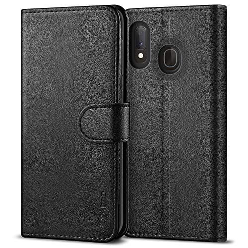 Vakoo Samsung A20e Hülle, Premium Leder Brieftasche Galaxy A20e Handytasche Schutzhülle Tasche Handyhülle für Samsung Galaxy A20e - Schwarz