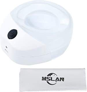 MSLAN Rechargeable 10X Dome Magnifying Glass with LED Light for Reading - Large Viewing Area Magnifier for Books, Seniors, Kids Present