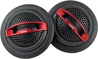 DS18 TWC 1 Inch Silk Dome Tweeter 60 Watts Max Neodymium Tweeters - Set of 2 (Black/Red)