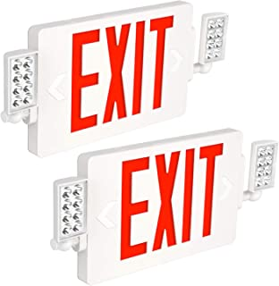 Hykolity Ultra Slim Red Exit Sign, 120-277V Double Face LED Combo Emergency Light with Adjustable Two Head and Backup Battery - 2 Pack
