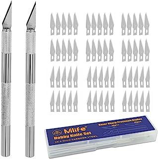 Mlife Juego de cutter con 60 cuchillas de recambio Cuchilla para trabajos artesanales Cúter con cuchillas intercambiables