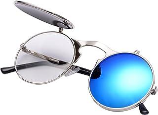 0cde276c23 COASION Vintage Round Flip Up Sunglasses for Men Women Juniors John Lennon  Style Circle Sun Glasses