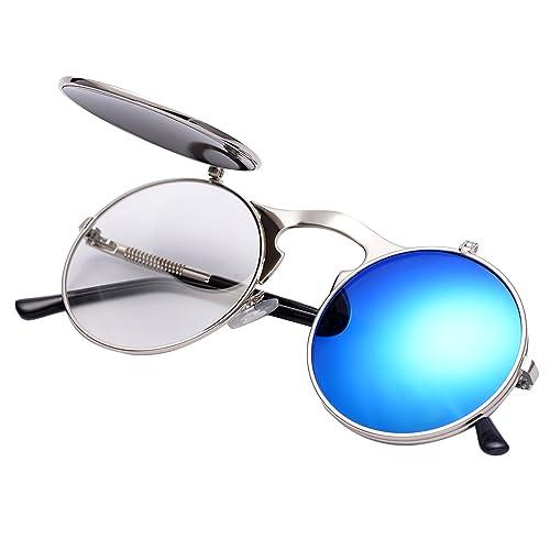 5bacf6a1fc0 COASION Vintage Round Flip Up Sunglasses for Men Women Juniors John Lennon Style  Circle Sun Glasses