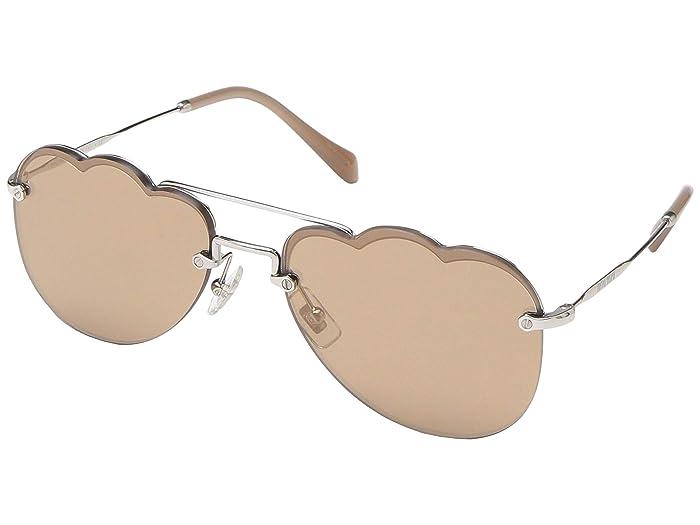 Miu Miu 0MU 56US (Silver/Light Brown Silver Mirror) Fashion Sunglasses