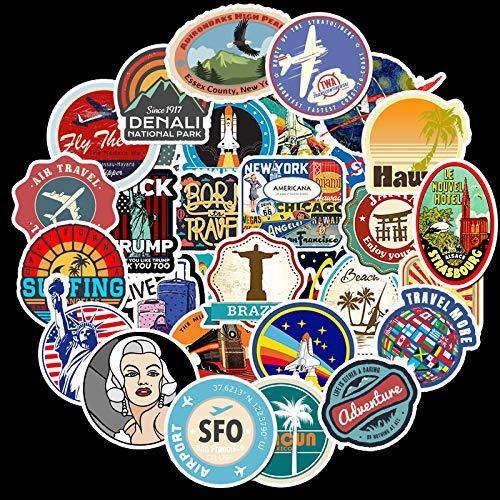 KATTERS 50 Pegatinas de Graffiti con Logotipo de Viaje al Aire Libre Retro, Maleta con Ruedas para Equipaje, Funda para portátil, Pegatinas súper Impermeables