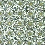 SCHÖNER LEBEN. Baumwollstoff WOMBY Blumen Kreise grün