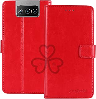 TienJueShi Red Book Stand Retro Flip Leather Protector Phone TPU Silicone Case For Asus Zenfone 7 Pro ZS671KS 6.67 inch Ge...