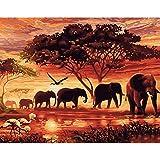 CADANIA DIY Pintura Al Óleo por Números Elefantes Paisaje Dibujo sobre Lienzo Decoración de Oficina