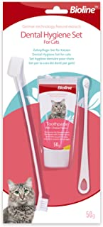 Bioline Dental Hygiene Set for Cats-Cheese Flavour - Cat Toothpaste & Toothbrush
