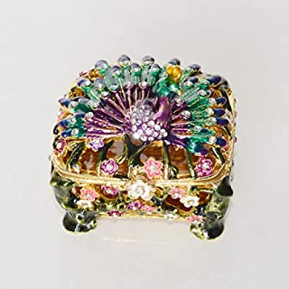 BINGFEI Jewelled Peacock enameled Trinket Ring Box Metal Jewelry case for her Pewter Figurine collectable Miniature,Purple