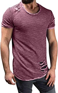 Tomwell Men T-Shirt Summer Short Sleeve Round Neck Solid Color Casual Light and Breathable Fashion Tops Slim Fit Purple EU L