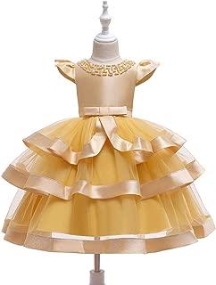 Luxury Princess Dress Children Wear Beads Handmade Dress Skirt Short-Sleeved Princess Dress Girls Princess Tutu Dress Flower Girl Wedding Dress Net Veil Levels ryq (Color : Yellow, Size : 120cm)