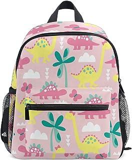 Mochila infantil con diseño de dinosaurio rosa para niña, mochila escolar para guardería, preescolar, bolsa de viaje con clip para el pecho
