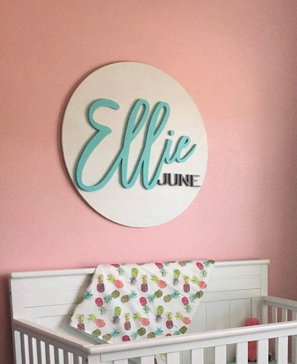 daoyiqi Custom Name Sign Round Sign Baby Name Sign Nursery Room Decor Wood Sign Nursery Wall Art Wood Name Board Wooden Printed Wood Plaque Sign 12 Inch