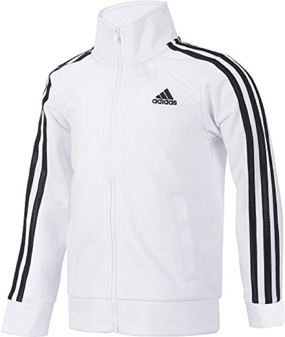 adidas Girls 4-6x Side Stripe Black & Pink Tricot Lightweight Jacket