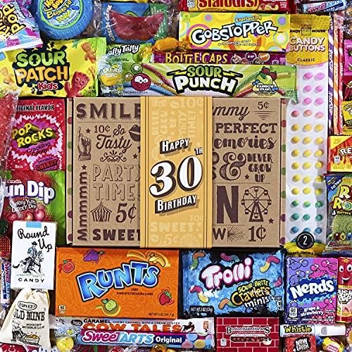 VINTAGE CANDY CO. 30TH BIRTHDAY RETRO CANDY GIFT BOX - 1991 Decade Childhood Nostalgic Candies - Fun Funny Gag Gift Basket - Milestone 30 THIRTIETH Birthday - PERFECT For Man Or Woman Turning THIRTY