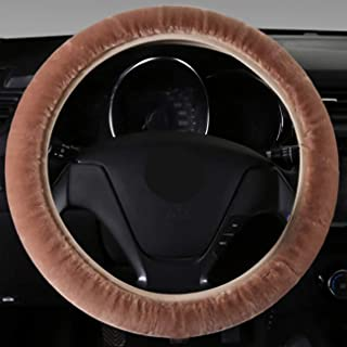 Yun Hui Lai Sheepskin Steering Wheel Cover Natural Fur Wool Sheepskin Car Steering Wheel Cover,Protector for Universal Ste...
