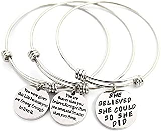 3 Sets Adjustable Bracelet Plated Stainless Steel Motivational Quote Bangle Silver Girls