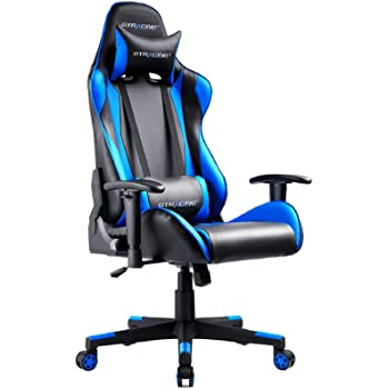 GTRACING Gaming Chair Ergonomic Racing Chair Backrest and Seat Height Adjustable with Pillows Recliner Chair Swivel Rolling Chair Computer Office Desk Chair(Black/Blue)