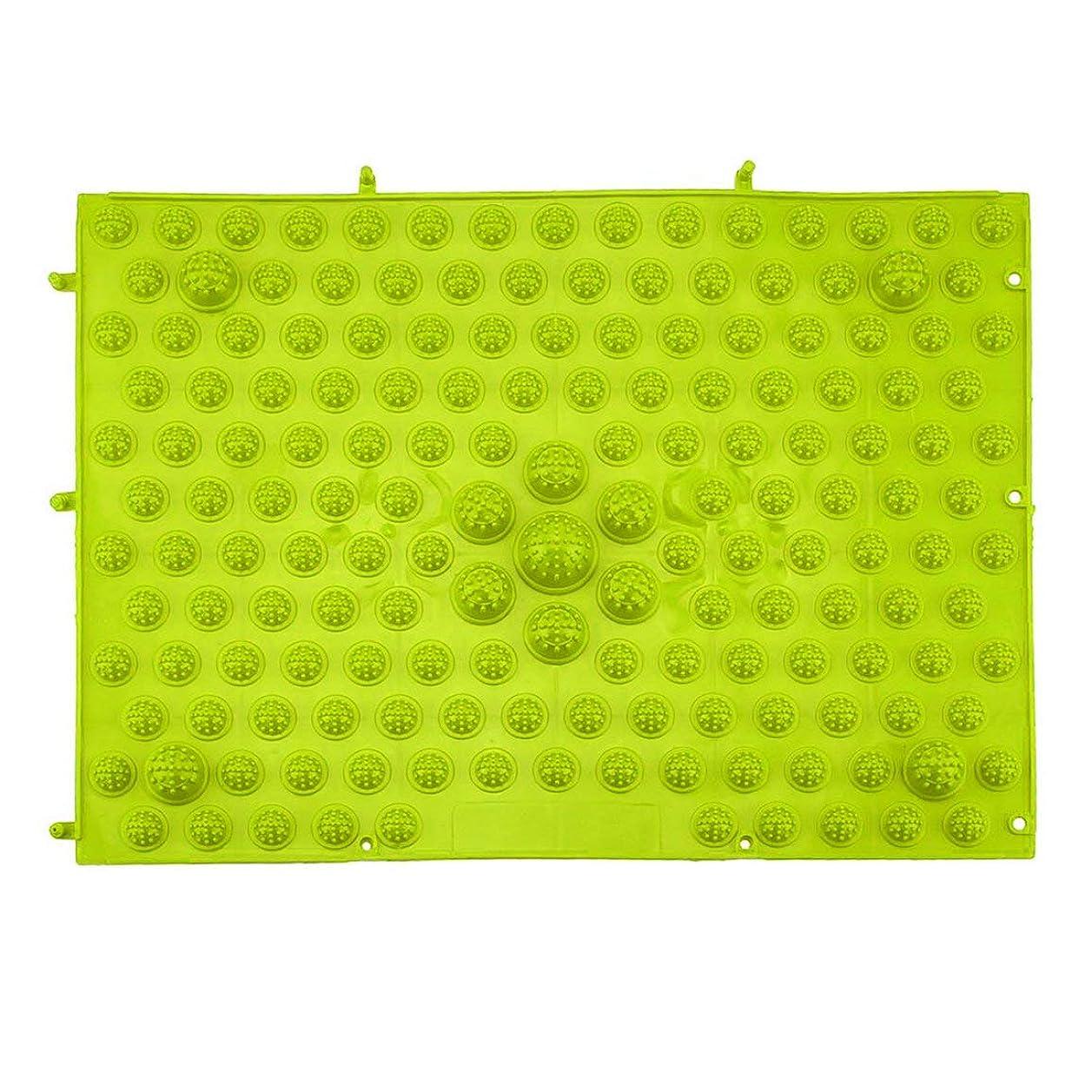 敵意干し草そして指圧フットマットランニングマンゲーム同型フットリフレクソロジーウォーキングマッサージマット用痛み緩和ストレス緩和37x27.5cm - グリーン