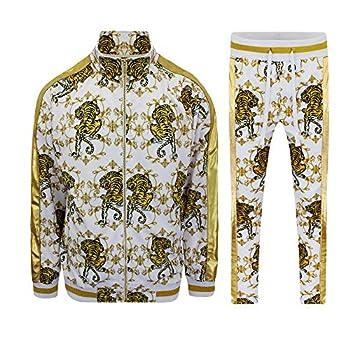 Men s Gold Accent Tiger Print Track Suits 2 Piece Sweatsuit Set ST556 - White - Medium