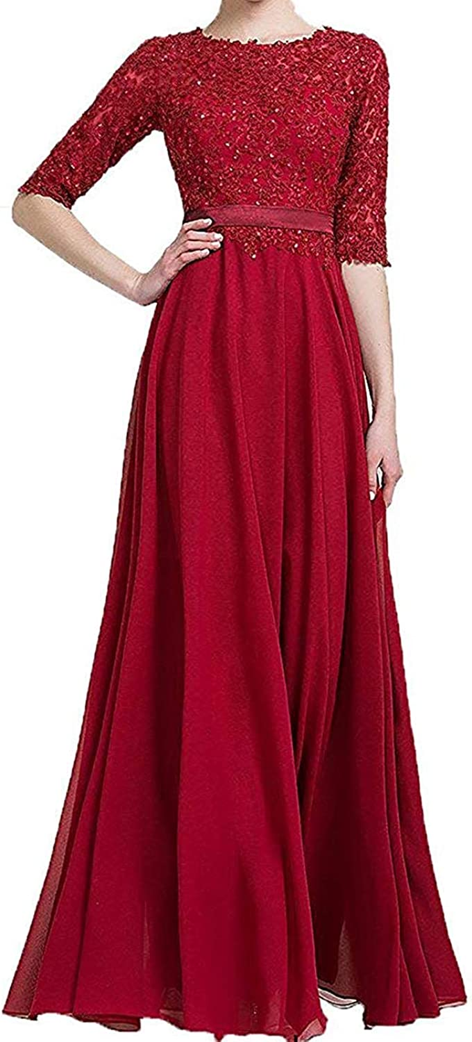 Fitty Lell Women's Half Sleeves Lace Applique Evening Dress Beaded Prom Gown