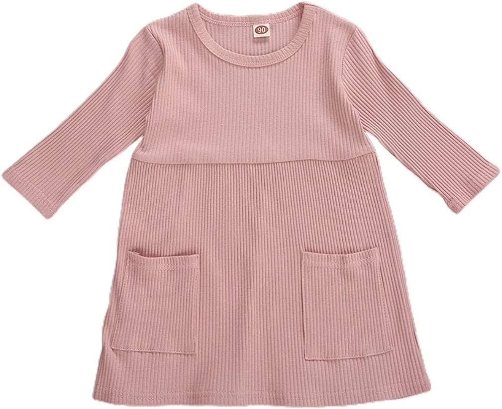 Toddler Baby Girl Knit Sweater Dress Solid Ruf Now on sale Louisville-Jefferson County Mall Kids Ribbed Color