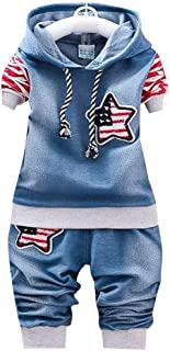 Hopscotch Baby Boys Cotton Star Applique Hoodies and Jeans Sets in Red Color for Ages 12-24 Months