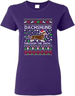 Ladies Dachshund Through The Snow Dog Hat Ugly Christmas Funny DT T-Shirt Tee