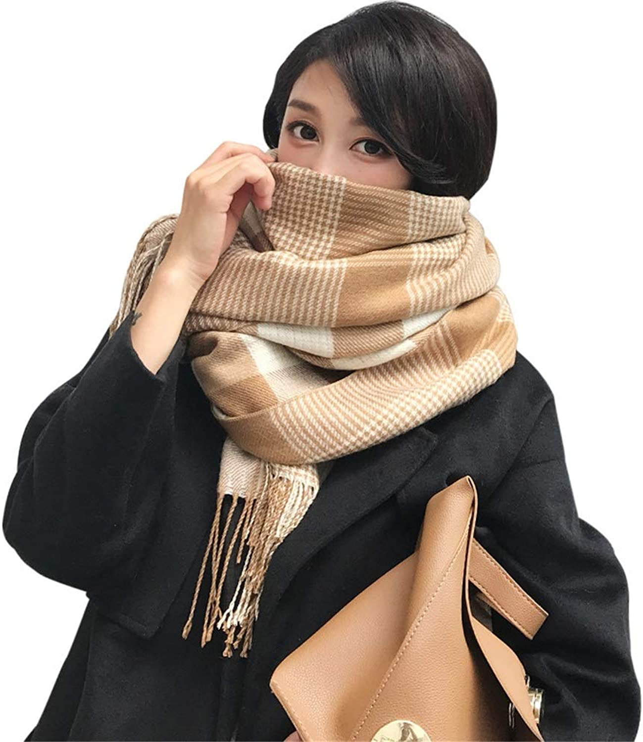 HATHOR23 Scarf Korean Plaid Scarf Female Winter Long Scarf Student Imitation Cashmere Wild Scarf Shawl Couple Thick Scarf (color   Beige)