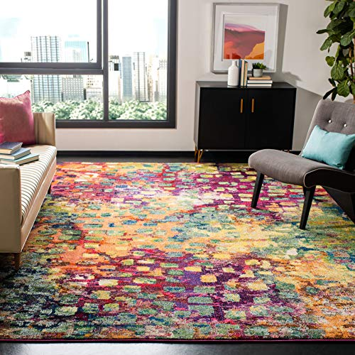 Safavieh Monaco Collection MNC225D Boho Chic Abstract Watercolor Non-Shedding Living Room Bedroom Area Rug, 5' x 5' Square, Pink / Multi