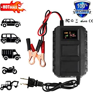 12V 20A Smart Fast Battery Charger Portable Car Battery Acid Charger for Car Motorcycle Intelligent LCD for Car Motorcycle That Will Constantly Monitor US (Black)