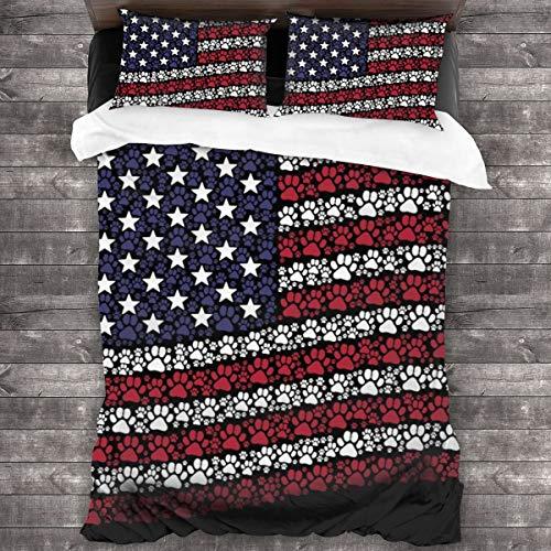 3D Juego Funda De Diseño Personalizado,Pictogramas de huella de pata se organizan en ondeando la bandera de Estados Unidos,Ropa de Cama Set 1 Edredón 2 Fundas de Almohada Microfibra jueg,220*230cm*1