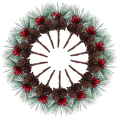 Pinos Artificiales,Paquete de 20 Rústico Nevado Pequeño Pino Artificial para Arreglos Florales de Navidad Coronas,Bayas...
