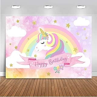 Mehofoto Unicorn Birthday Backdrop Pink Rainbow Cloud Unicorn Photography Background 7x5ft Vinyl Unicorn Theme Birthday Party Backdrops