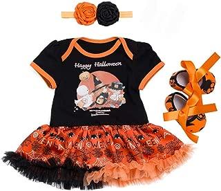 TOPBIGGER 2020 3PCS Newborn Baby Girl Halloween Pumpkin Dress +Pants+Headband/Hat Outfit Set Bodysuit Tops Halloween Pumpkin Jumpsuit Outfits Set 0-24Months
